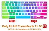 "CaseBuy Ultra Thin Colorful Keyboard Cover Skin for 11.6"" HP Chromebook 11 G5 EE Laptop(NOT Fit HP Chromebook 11 G2 / G3 / G4 / G5), Rainbow"