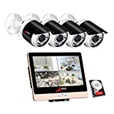 ANRAN POE Surveillance Security Camera System 1080P 4Channels 12inch LCD Video Recorder DVR Kits w/4PCS 2.0 Megapixels Network PoE CCTV Bullet Camera 3.6mm Lens Outdoor Indoor IP66 1TB Hard Drive