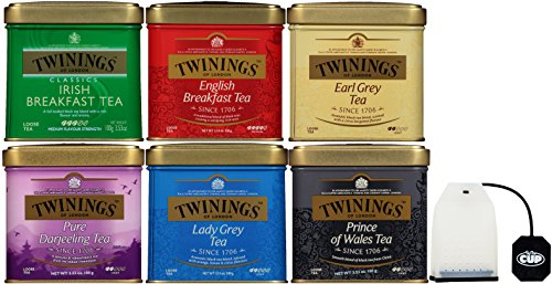 Twinings 6 Flavor Black Tea Variety 3.5 Ounce Tins - Includes English Breakfast, Earl Grey, & More - with Exclusive By The Cup Reusable Tea Bag - Exclusive Tin