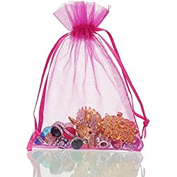 """100Pcs Thick Drawstring Yarn Bag Jewelry Pouch Wedding Party Pocket Gift Bags Set Rose Red 4x6"""""""
