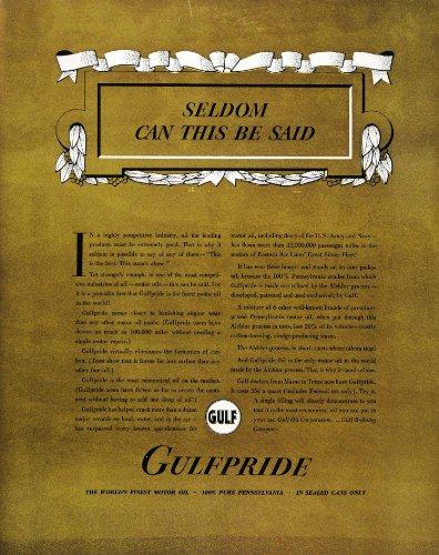 Oil Gasoline Prices (1937 Ad Gulfpride Motor Oil Pennsylvania Gasoline Price - Original Print Ad)