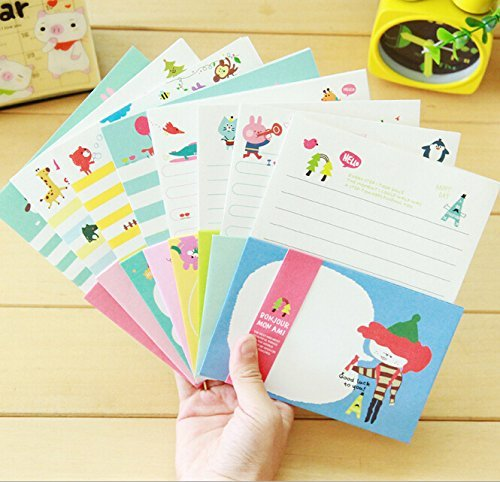 SCStyle 32 Cute Kawaii Lovely Special Cartoon Design Writing Stationery Paper with 16 Envelope + 1 Sheet Label Seal Sticker (11-40)