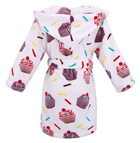 Girls Hooded Printed Flannel Fleece Bathrobe Girls Robe with Pockets,Cupcakes,M by Arctic Paw (Image #2)