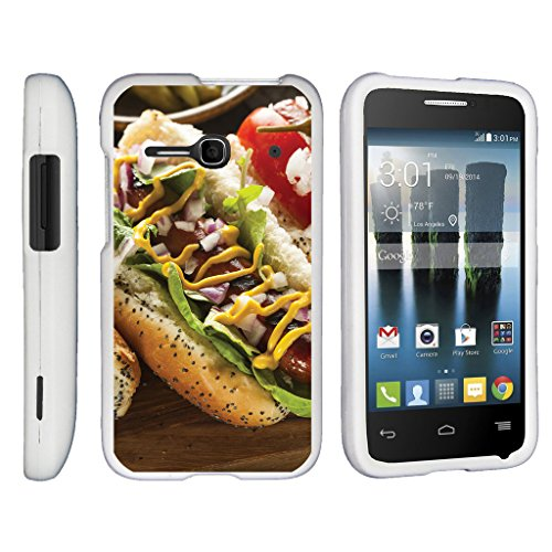 TurtleArmor | Alcatel One Touch Evolve 2 Case | 4037T [Slim Duo] Hard Compact Light Rubberized Coating Snap On 2 Piece Cover Shell on White Food Image - Hotdog