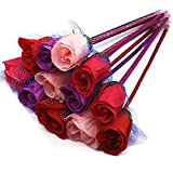 TANG SONG 12PCS Novelty Cute Rose Decor Ballpoint Pen Office School Supplies Students Children Gift (0.5mm Blue Ink