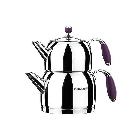 Amazon.com: Korkmaz Flora - Juego de ollas de té con tapa de ...