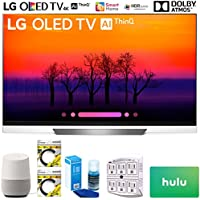 LG OLED55E8PUA 55 Class E8 OLED 4K HDR AI Smart TV 2018 Model (OLED55E8PUA) with Google Home, 2X 6ft HDMI Cable, Screen Cleaner for LED TVs, 6-Outlet Surge Adapter & $100 Hulu Plus Gift Card