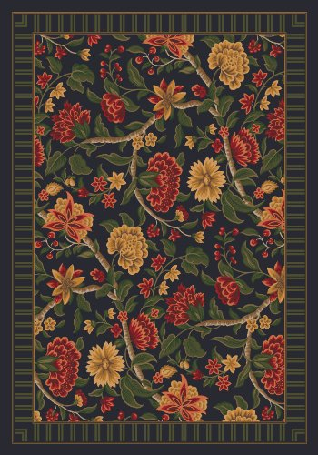 Pastiche Vachell Ebony Floral Rug Rug Size: Oval 7'8