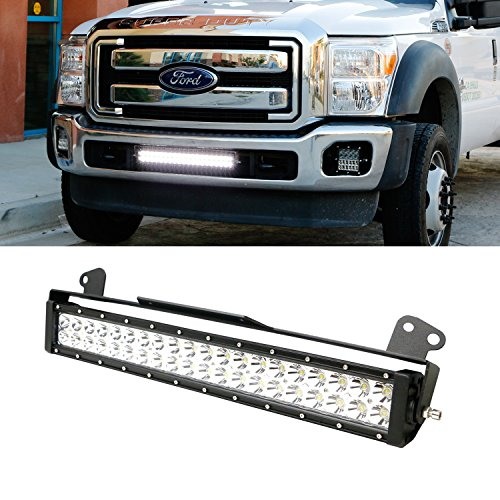 """iJDMTOY Complete 20"""" 120W High Power LED Light Bar w/ Lower Bumper Grille Mounting Brackets For 2011-2016 Ford F-250 F-350 Super Duty"""