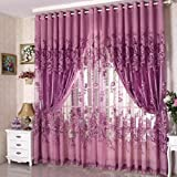 250*100cm Peony Beads Curtain Living Room Window Tulle Curtain Purple
