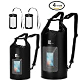 AiRunTech Waterproof Dry Bag, 10L + 20L Roll Top Compression Sack with Phone Dry Bag Case and Long Adjustable Shoulder Strap Included for Outdoor Water Sports, Boating, Hiking