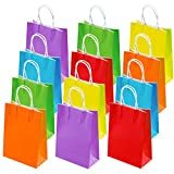 Cooraby 30 Pieces Kraft Paper Bags Candy Bags Party Favor Bags with Handle for Birthday, Tea Party, Gift, Wedding and Party Celebrations, 6 Colors