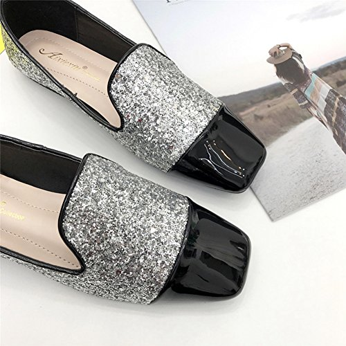 T-JULY Loafers Shoes For Women - Sequins Lightweight Slip On Low-Heel Square Toe Casual Penny Flat Silver h2J8a3