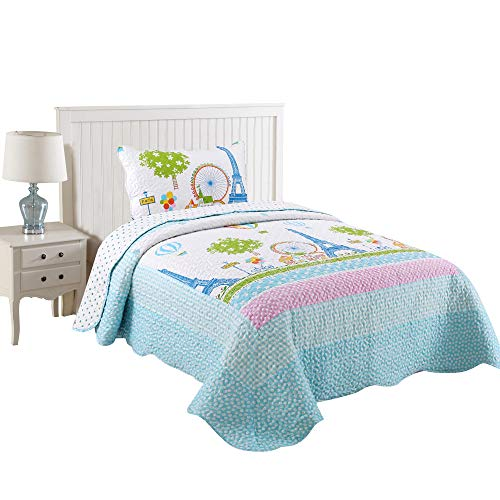 MarCielo 2 Piece Kids Bedspread Quilts Set Throw Blanket for Teens Boys Girls Bed Printed Bedding Coverlet, Twin Size, Effeil Tower (Twin)
