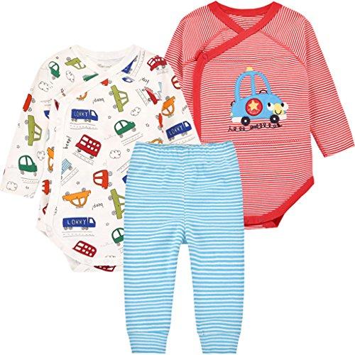 Bebé Body Manga Larga y Pantalones 3 Piezas Conjuntos de Ropa Recién Nacido Algodón Pijama Set de Regalo: Amazon.es: Bebé