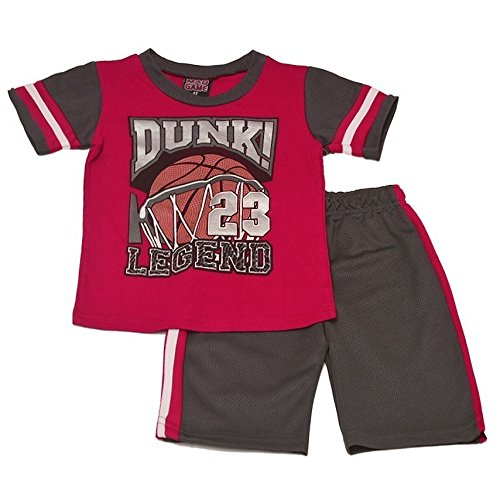 Mad Game Little Boys Red Dunk 23 Legend Print Sports 2 Pc Shorts Outfit 4