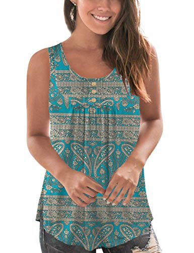 Beecarchil Women's Plus Size Printed Pleated Sleeveless Tank Tops Summer Casual Tunic