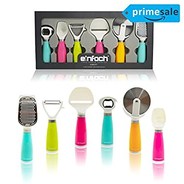 LIMITED OFFEReinfach™, Simple Premium Essentials 6pc Stainless Steel Kitchen Gadget Tool Set - Peeler, Cheese Slicer, Pizza Cutter, Grater, Ice Cream Scoop, & Multi-function Bottle Opener