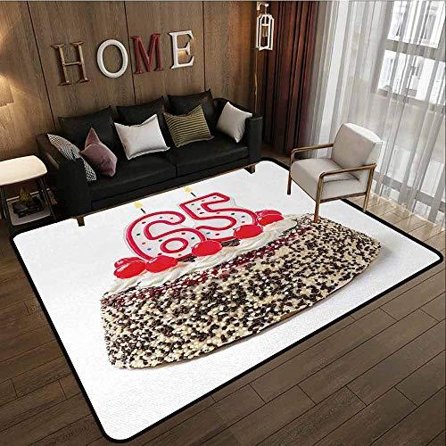 Rectangular Rug,65th Birthday,Large Area mat,5'6