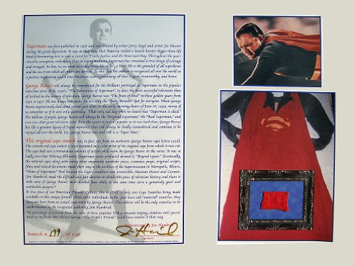 George Reeves Superman Cape Swatch Display