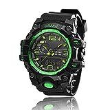 AD1606 OHSEN Mens Analog Digital Dual Timezone Stainless Steel Quartz Wrist Watch in Green
