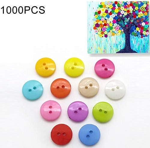 Home Decoration 1000 PCSミックスカラー2穴ボタン縫製DIY工芸品子供用マニュアル絵画ボタン、ランダムカラー、直径:11.5mm