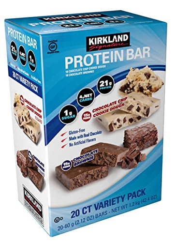 Kirkland | Signature Variety Protein Bars 20 count | 21G Of Protein, 4G Of Carbs & 1G Of Sugar | Chocolate Brownie and Chocolate Chip Cookie Dough (20 Bars)