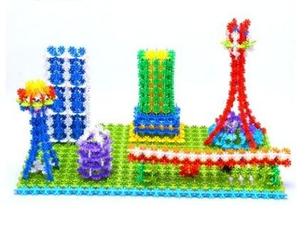 500 Stück Schneeflocke Form PVC Blocks Kinder Intelligence Puzzle Gebäude Spielzeug (Die Lieferzeit dauert 14 bis 18 Tage)
