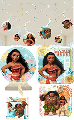 Amscan Moana Birthday Party Pack! Bundle of Plates, Napkins, Centerpiece, and Hanging -