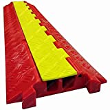 The Falcon - Heavy Duty Polyurethane Cable Protector - 2 Channel - Orange base, Yellow lid