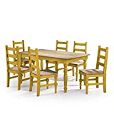 Manhattan Comfort Jay Collection Traditional Pine Wood 7 Piece Dining Set With Trim Design, 6 Chairs and 1 Table, Natural Wood/Yellow