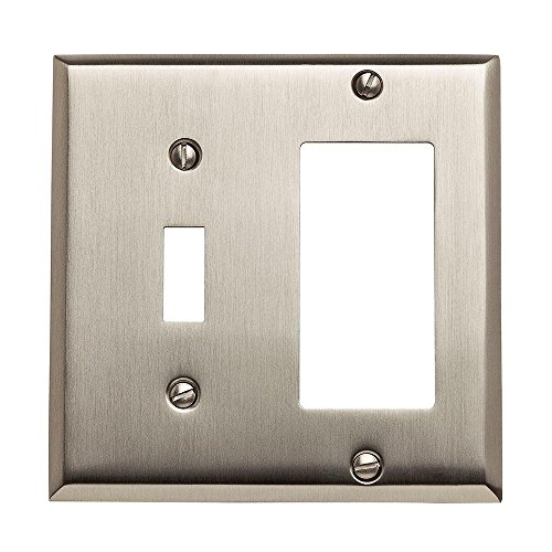 Baldwin 4743.150.CD Classic Square Beveled Edge GFCI Single Toggle Combo Switch Plate, Satin Nickel