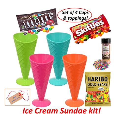 BB's Ice Cream Sundae Party Kit, Care Package Bundle, 4 Plastic Waffle Cone Shaped Cups Bowls with Candy Toppings, Family and Friends Summer Dessert