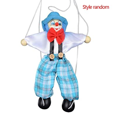 Firiodr Colorful Pull String Puppet Clown Wooden Marionette Handcraft Toys Joint Activity Doll Kids Children Gifts Random Color: Computers & Accessories
