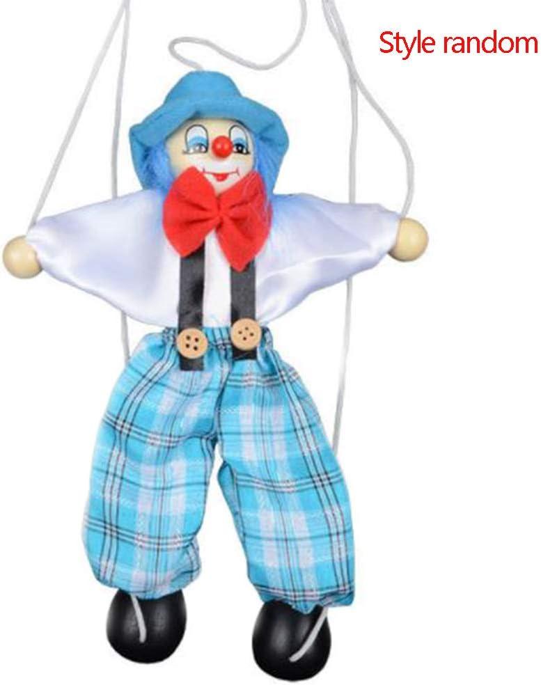 Uzinb Tire Colorido Cuerdas de Marionetas Payaso de marioneta de Madera de Manualidades Juguetes Regalos Conjunto Actividad muñeca Niños Niños Color al Azar