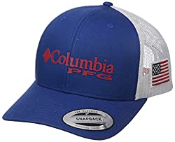 Columbia Pfg Mesh Snap Back Ball Cap, Mountain Blue Usa Flag, One Size