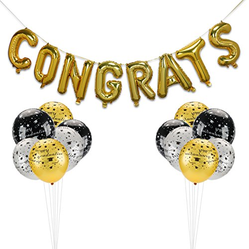 Home Kitty 32 Pack Graduation Decorations Party Balloons,Congrats Balloons Banner -Gold Aluminum Film Letter Balloons, Gold, Black and White Graduation Balloons Great for Graduations Party Supplies ()