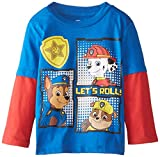 Paw Patrol Little Boys' Chase Marshall Rubble Let's Roll Two-Fer T-Shirt, Royal/Red, 5T