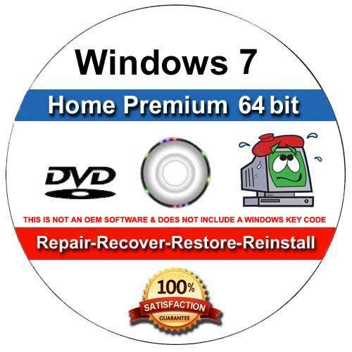 (9th and Vine Compatible Windows 7 Home Premium 64 Bit DVD. Install To Factory Fresh, Recover, Repair and Restore Boot Disc. Fix PC, Laptop and Desktop.)