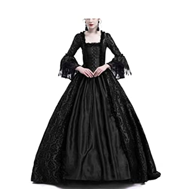 7e60cae72e Amazon.com  LY-VV Womens Gothic Victorian Lolita Dress Square Collar Velvet  Halloween Witch Dress  Clothing