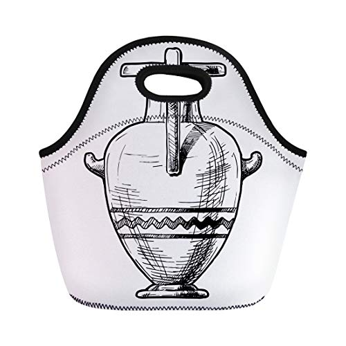 Semtomn Neoprene Lunch Tote Bag Antique Sketch of Ancient Greek Vase Hydria Drawing Amphora Reusable Cooler Bags Insulated Thermal Picnic Handbag for Travel,School,Outdoors,Work