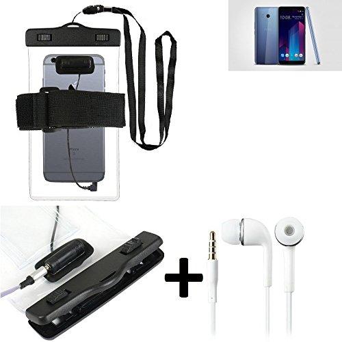 Estuche estanco al agua con entrada de auriculares para HTC U11+ + auricular incluido, transparente   Trotar bolsa de playa al aire libre caja brazalete del teléfono caso de cáscara bajo playa - K-S_T