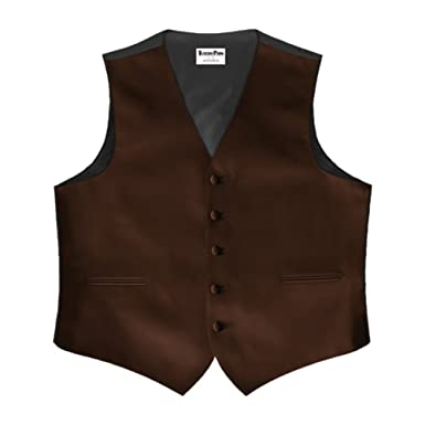 Chocolate Brown Satin 5 Button Full Back Vest at Amazon Men's ...