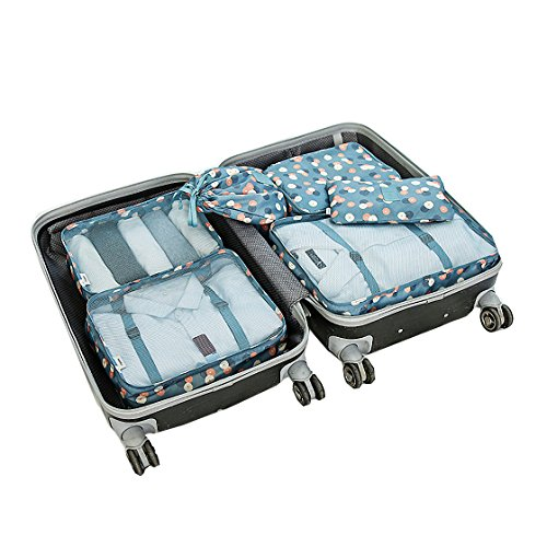 Price comparison product image Travel Packing Organizers - Clothes Cubes Shoe Bags Laundry Pouches For Suitcase Luggage,  Storage Organizer 6 Set Color Turquoise Dot