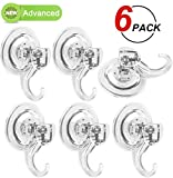 LUXEAR Advanced Suction Cup Hooks, Powerful SuperLock Shower Suction Cups (6 Pack) Heavy Duty Vacuum Suction Cup Hooks Towel, Bathrobe Loofah PET Material Multipurpose Holder