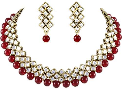 Shining Diva Red Pearls Kundan Choker Necklace & Earrings Set For Women
