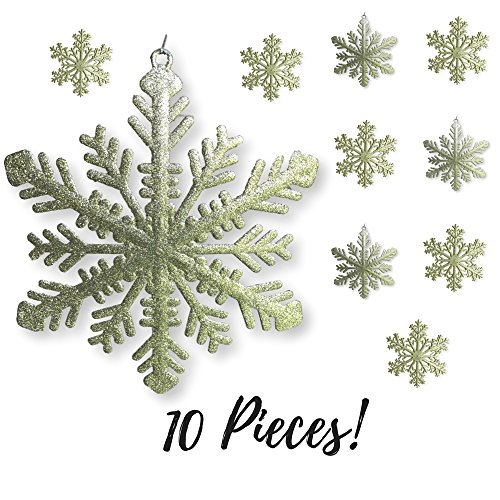 Large Snowflakes - Set of 10 Gold Glittered Snowflakes - Approximately 12 Inches in Diameter -Two Asst Designs Snowflake Decorations - Snowflake Window Decor - Winter Decorations -