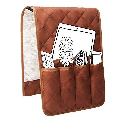 Sofa Pocket Organizer - Teniux Non-Slip Couch Sofa Chair Armrest Organizer with 5 Pockets Armchair Caddy for Smart Phone, Book, Magazines, Ipad, TV Remote Control Holder