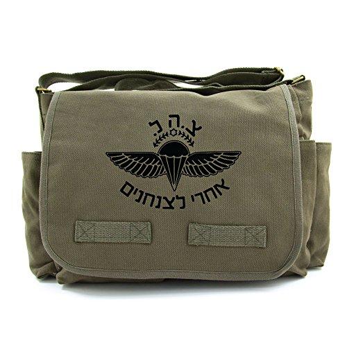 ISRAELI Paratrooper Army Heavyweight Canvas Messenger Shoulder Bag in Olive & Black ()