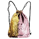 Mermaid Bag, Reversible Sequins Drawstring Backpack Glitter Bag Shoulder Bag (Pink and Gold)